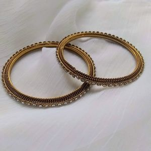 Gold & Crystal Bangles Set